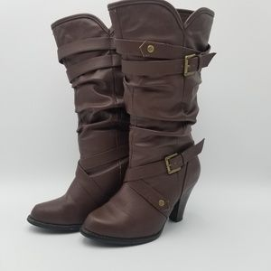 Xhilaration Brown Faux Leather Boots